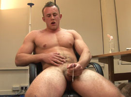 Wanking like a champion he pumps his cock and explodes covering the place with hot thick spunk.